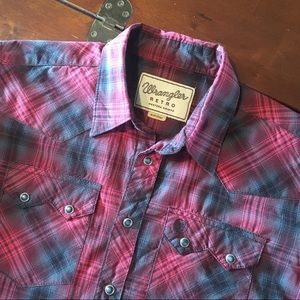 Wrangler RETRO Maroon Plaid Western Shirt